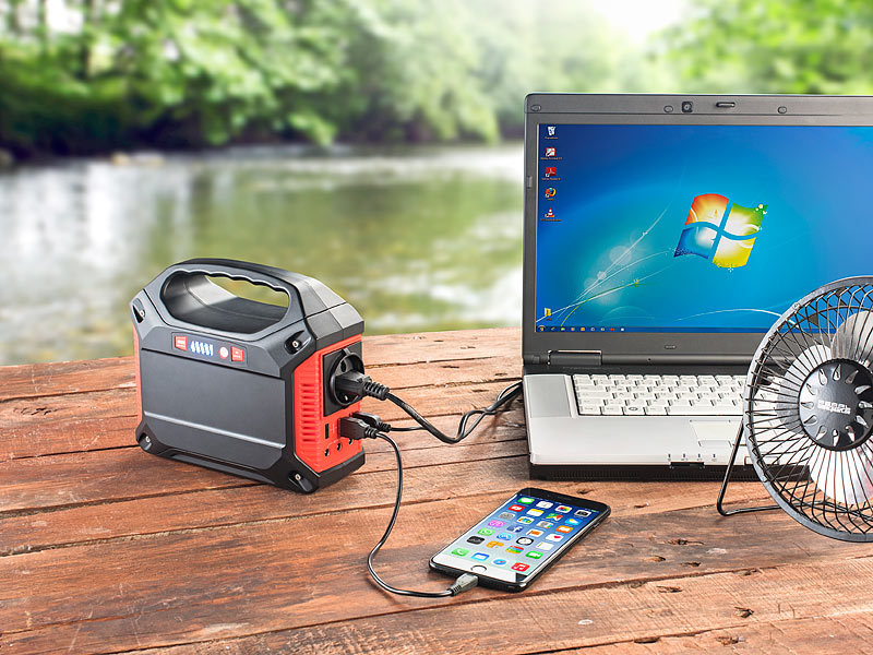 ; 2in1-Solar-Generatoren & Powerbanks, mit externer Solarzelle, USB-Solar-Powerbanks