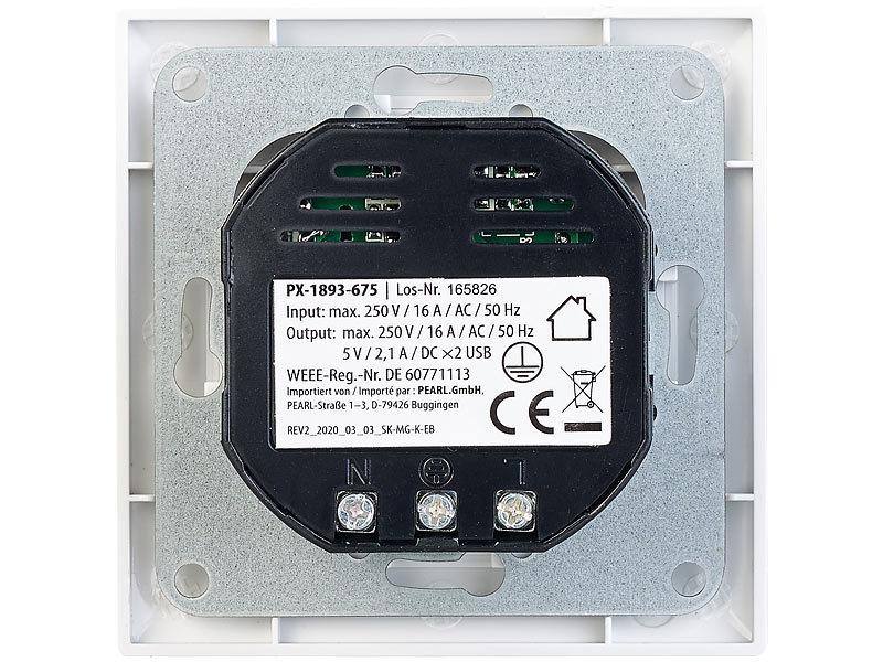revolt 2in1-Unterputz-Steckdose mit 2-fach-USB-Netzteil, 2,1 Ampere