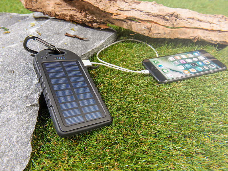 revolt solar powerbank mit mah taschenlampe 2x. Black Bedroom Furniture Sets. Home Design Ideas