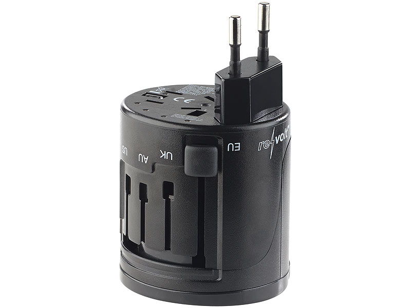 revolt universal reisestecker all in one travel adapter. Black Bedroom Furniture Sets. Home Design Ideas