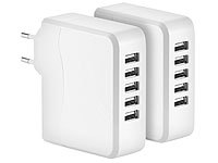 revolt 2er-Set Intelligentes 5-Port-USB-Wandnetzteil Smart Power, 34 Watt
