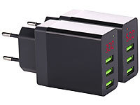 revolt 2er-Set Intelligentes 3-Port-USB-Wandnetzteil mit LED-Display, 15,5 W