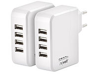 revolt 2er-Set Intelligentes 4-Port-USB-Wandnetzteil, Smart-Power-Technologie
