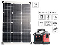 revolt Solar-Generator & Powerbank mit 50-Watt-Solarpanel, 60 Ah, bis 200 W; USB-Solar-Powerbanks USB-Solar-Powerbanks USB-Solar-Powerbanks