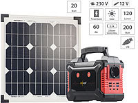 revolt Solar-Generator & Powerbank mit mobilem 20-Watt-Solarpanel, 60 Ah; USB-Solar-Powerbanks USB-Solar-Powerbanks USB-Solar-Powerbanks