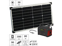 revolt Solar-Generator & Powerbank mit 50-Watt-Solarpanel, 80 Ah, bis 500 W; USB-Solar-Powerbanks USB-Solar-Powerbanks USB-Solar-Powerbanks
