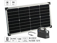 revolt Solar-Strom-Set mit Generator-Powerbank & 50-Watt-Solarpanel, 26,4 Ah; USB-Solar-Powerbanks USB-Solar-Powerbanks USB-Solar-Powerbanks