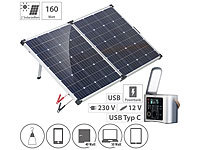 revolt High-End-Powerbank & Solar-Konverter mit mobilem 160-W-Solar-Panel